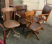 OAK or MAHOGANY VINTAGE OFFICE CHAIRS